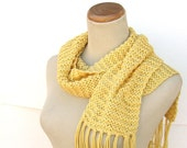 Mothers Day Buttercup Hand Knit Scarf - Golden Yellow - All Cotton