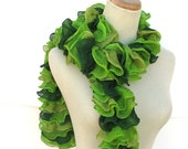 Hand Knit Ruffled Scarf -Green