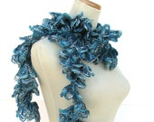 Sale Hand Knit Ruffled Scarf - Teal Blue Greensale