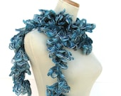 Hand Knit Ruffled Scarf - Teal Blue Green - ArlenesBoutique