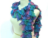 Hand Knit Ruffled Scarf - Turquoise Green Pink Purple