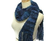 Variegated Blue Hand Knit Scarf
