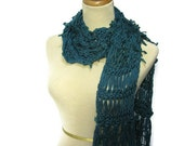 Spruce Pine Hand Knit Scarf - Teal Blue Green