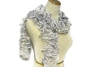 Holiday Hand Knit Scarf - Ruffled - Variegated Grays