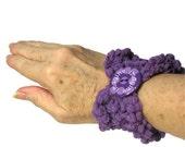 Purple Hand Knit Cuff/Bracelet