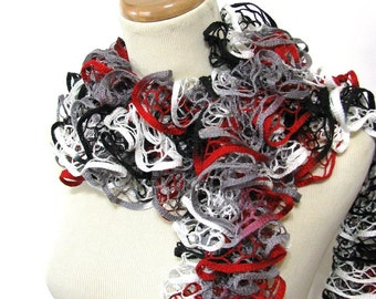Ruffle Scarf, Knit Scarf, Hand Knit Scarf, Red And Black White Scarf, Spring Scarf, Mother's Day, Womens Scarf, Fiber Art