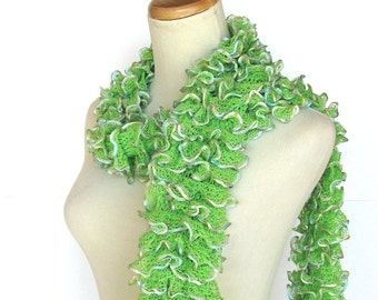 Sale, Lime Green Scarf,  Hand Knit Scarf, Ruffled Scarf, Spring Scarf, Knit Scarf, Mothers Day, Women, Fashion Scarf