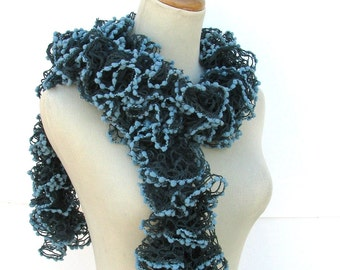 Valentine's Day, Ruffle Scarf, Teal Scarf, Knit Scarf, Fashion Accessory Gift For Her, Fiber Art Womens Scarf, Fashion Scarf, Hand Knit