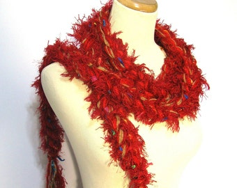 Red Crochet Chain Scarf, Red Scarf, Gift Idea For Her, Chain Scarf, Winter Scarf, Christmas Gift, Fiber Art, Fashion Scarf