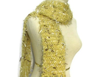 Sale Dijonaise Hand Knit Scarf, Yellow Scarf, Knit Scarf, Winter Scarf, Womens Scarf, Fashion Scarf, Gold