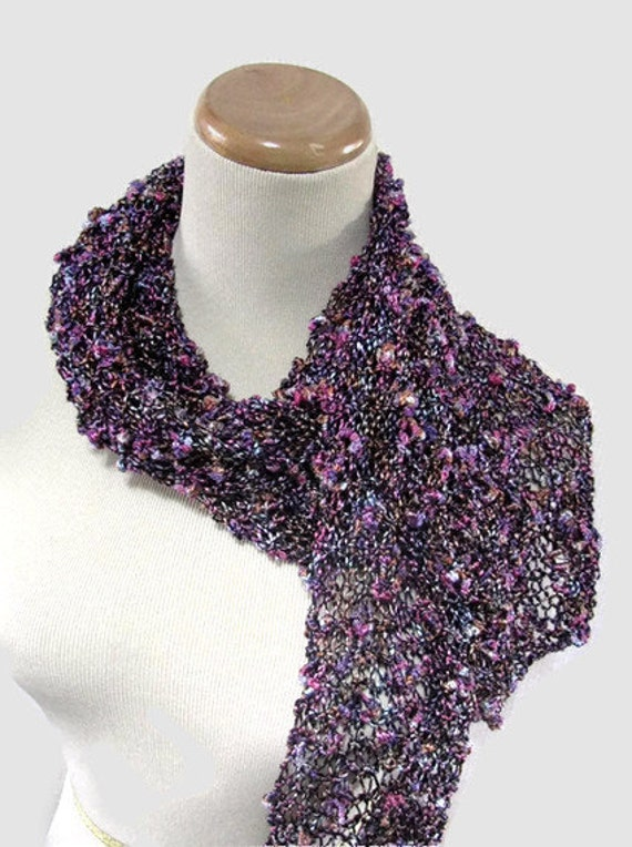 Purple and Hot Pink Handknit Scarf