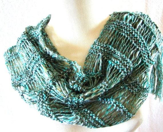 Turquoise Spirit Hand Knit Scarf