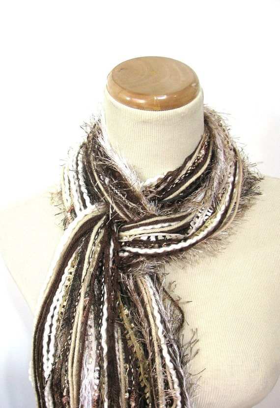 Brown and Tan Fringe Scarf