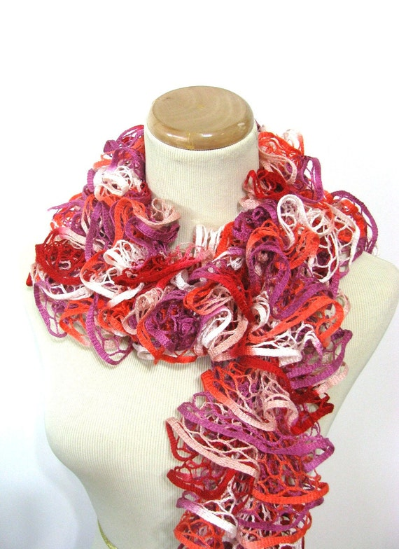 Hand Knit Lacy Ruffled Scarf - Tangerine, Pink, Red