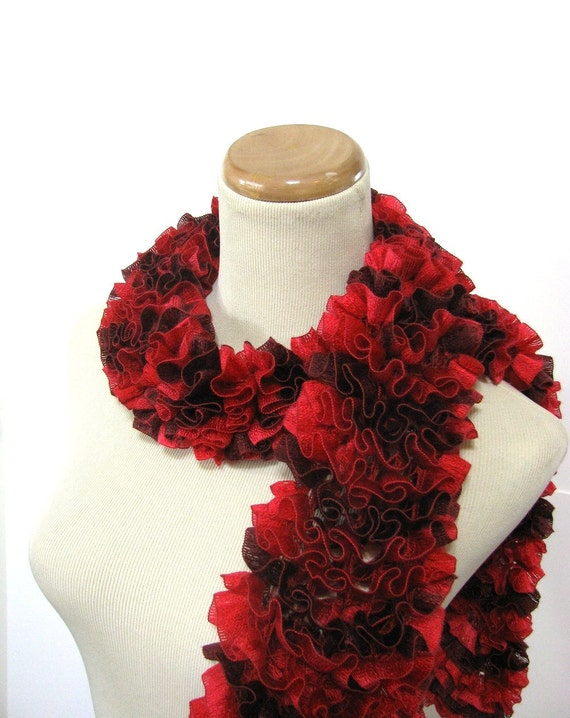 Red Ruffled Hand Knit Scarf