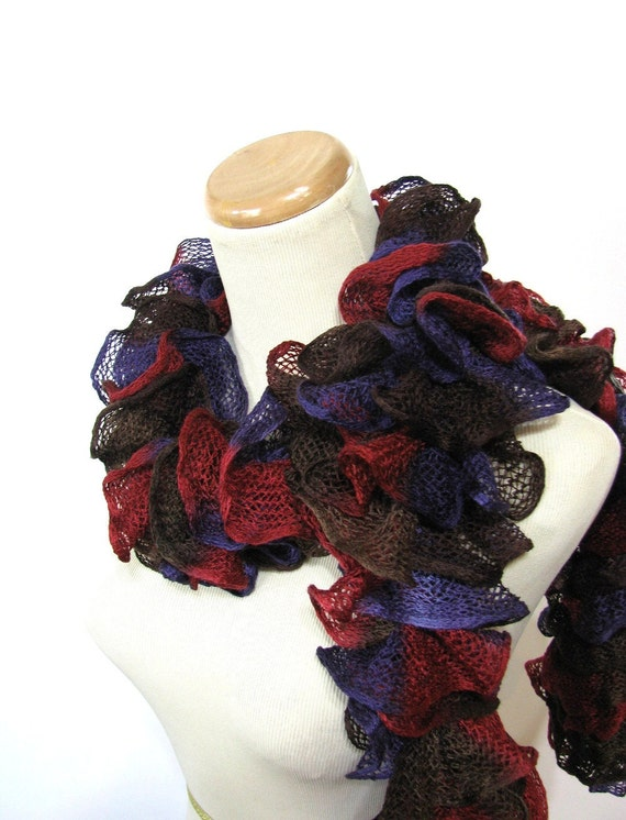 Ruffle Scarf, Knit Scarf, Gift Idea For Her, Fashion Accessory, Women Accessory, Hand knit Scarf, Red Purple Scarf, Fiber Art, Fashion Scarf