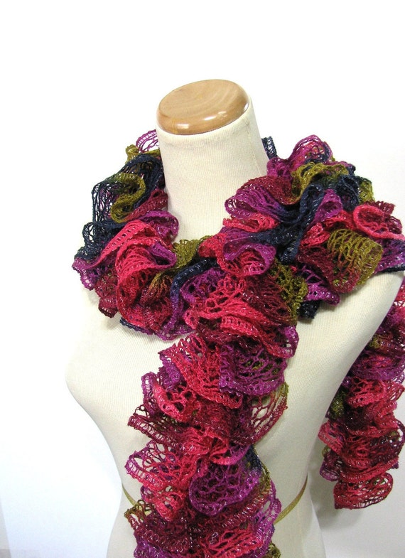 Ruffle Scarf - Pink, Olive Green, Navy Blue and Magenta Women Accessories Scarves Handmade Hand Knit Arlenesboutique