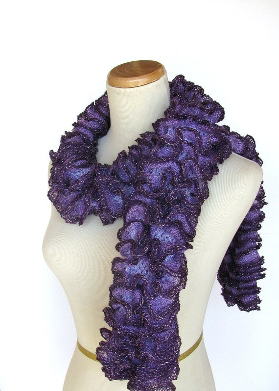 Sale Ready To Ship Purple Scarf, Ruffle Scarf, Knit Scarf, Hand Knit Scarf, Fiber Art, Spring Scarf, Women, Fashion Scarf
