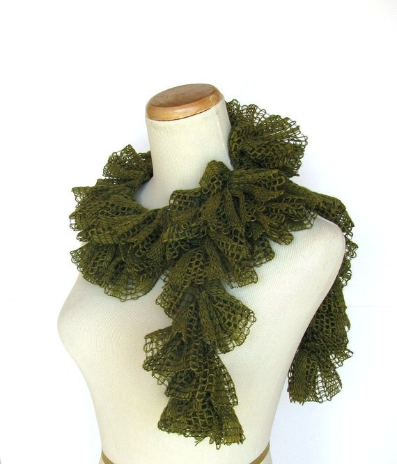 Sale Olive Green Scarf, Ruffle Scarf, Knit Scarf, Green Scarf, Wool Scarf, Fashion Scarf, Fiber Art, Womens Scarf, Knitted Scarf