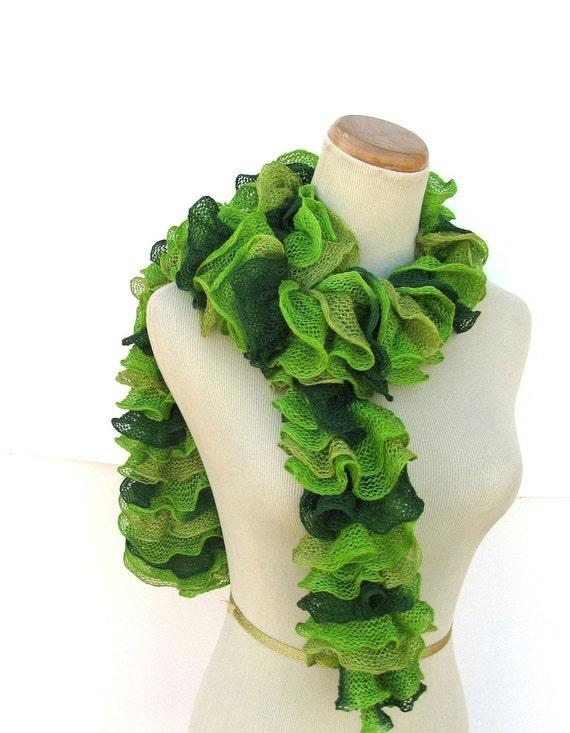 Hand Knit Ruffled Scarf -Green