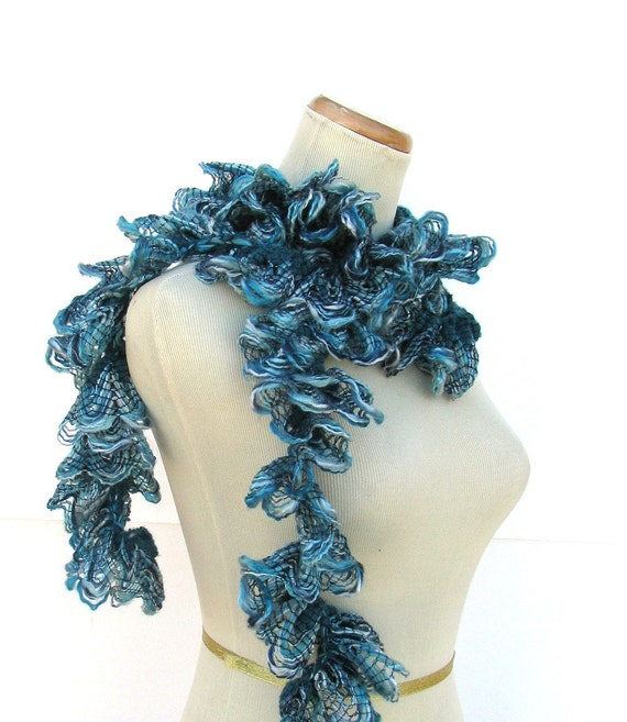 Sale Hand Knit Ruffled Scarf - Teal Blue Greensale