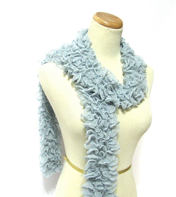 Pastel Blue Hand Knit Scarf - Cotton Blend