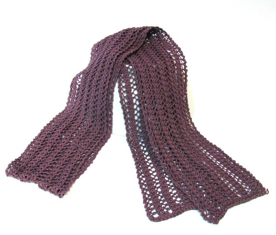 Lacy Scarf, Purple Scarf, Knit Scarf, Hand Knit Scarf, Plum Scarf, Womens Scarf, Cotton Scarf, Fashion Scarf, Fiber Art,