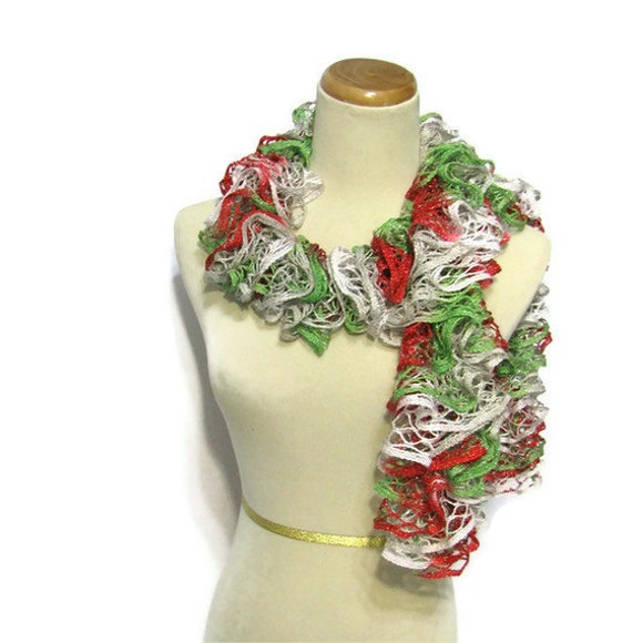 Holiday Hand Knit Scarf - Ruffled - Green Red Gray White