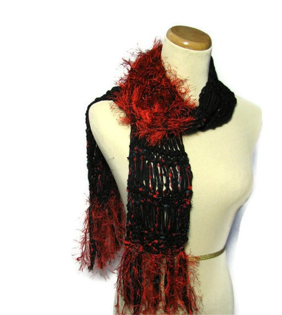 Sale Red Berry Hand Knit Scarf