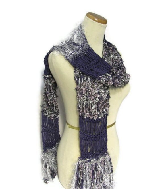 Iris Hand Knit Scarf - Purple