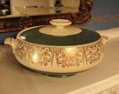 Vintage Elegant Covered Serving Bowl