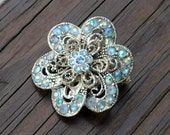 Vintage Brooch Jewelry Blue AB Crystal Silver Filagree Pin Pendant