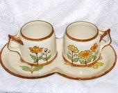 Vintage Coffee Mugs Cups Platter Flowers Sango European