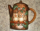 Vintage Owl Wall Plaque / Wall Decor / Chalkware / Retro / Plaque / Wall Hanging