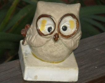 Vintage Hoot Owl Figurine Porcelain Owl Collector Big Eyed Enesco