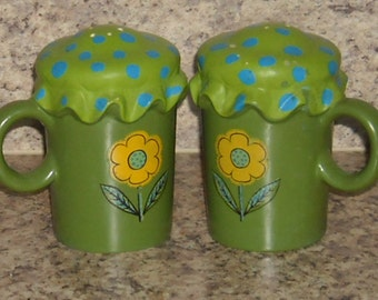 Vintage Salt Pepper Shakers Handpainted Green 1960s