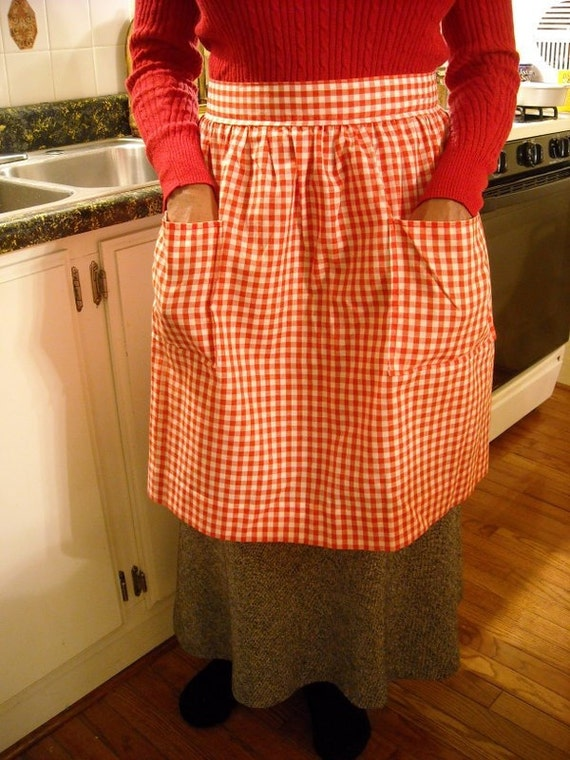 Vintage Gingham Apron Red White Half Apron Kitchen Cook