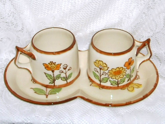 Vintage Coffee Mugs Cups Platter Flowers Sango European