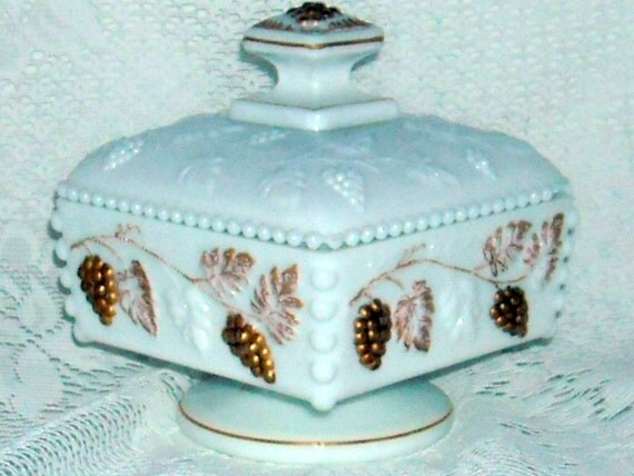 Candy Dish Milk Glass Hobnail Gold Leaves Gold Grapes Embossed