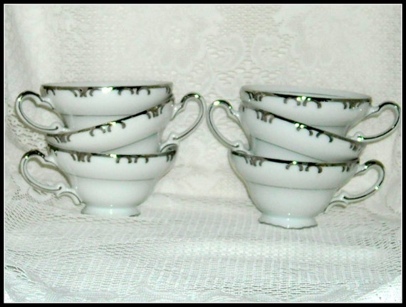 Vintage Gold China Baronet Cups Teacups Platinum White