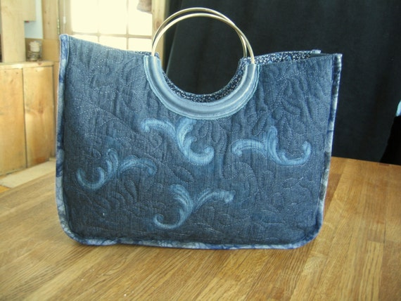Denim purse with distressed motifs The Contemporary Elegance, ready to ship