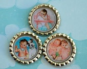 Bottle tops. Adorable vintage babies.