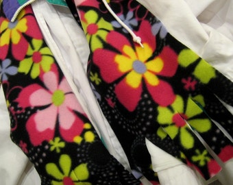 Scarf Muffler - Fringed Flowers Fleece Neckwarmer
