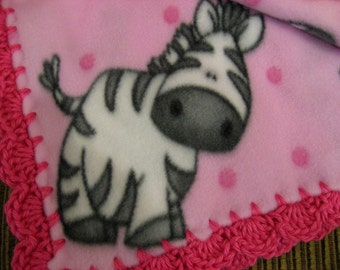 Pink Fleece With Black And White Zebras Girl Baby Blanket With Bright Pink Shell Crochet Edge