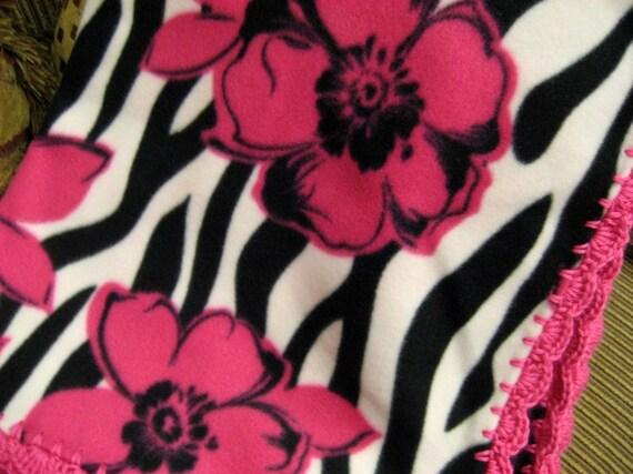 Zebra Striped with Pink Flowers Fleece Throw Blanket with Pink Crochet Edge
