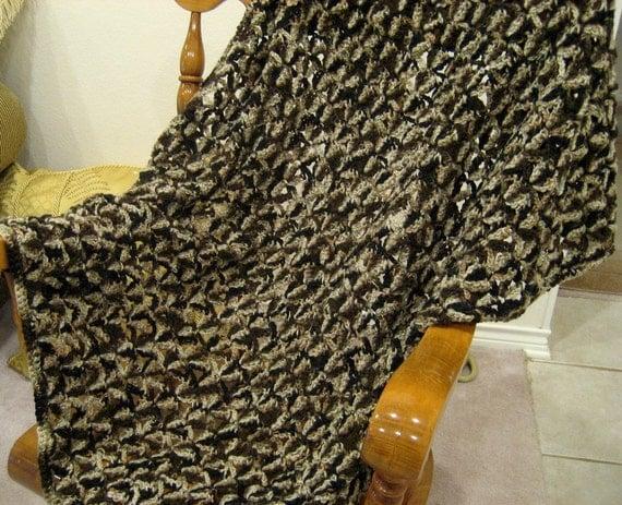 Shells In Brown Multi-Tone Crocheted Afghan Throw Blanket
