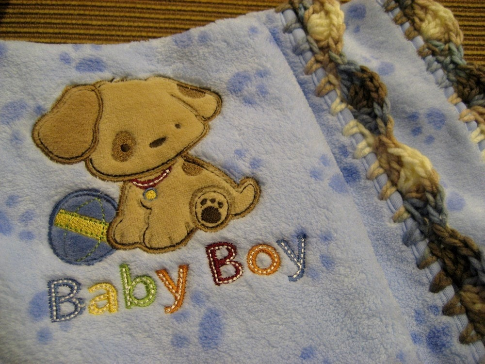 Baby Boy Blue Puppy Dog Blanket With Crochet Edge