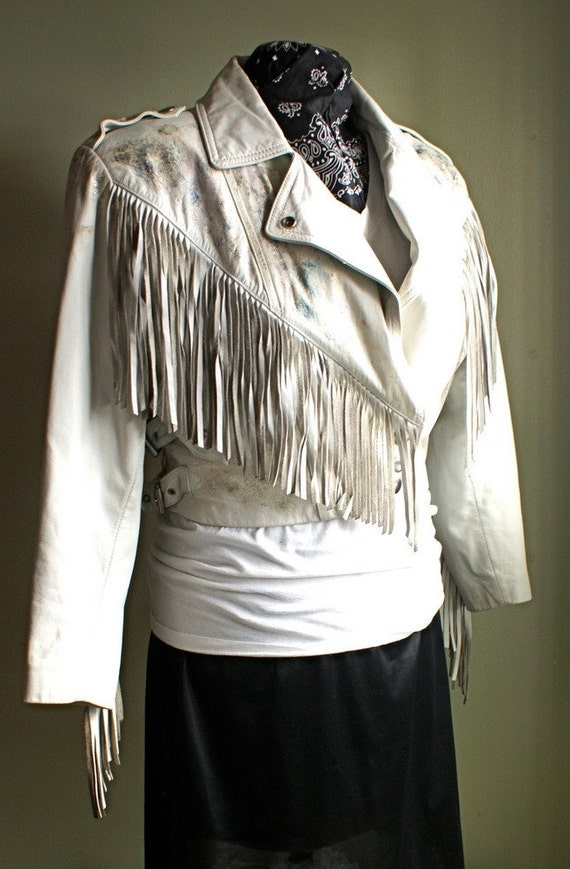 Sloane Peterson 80's White Cropped Leather Fringe Jacket