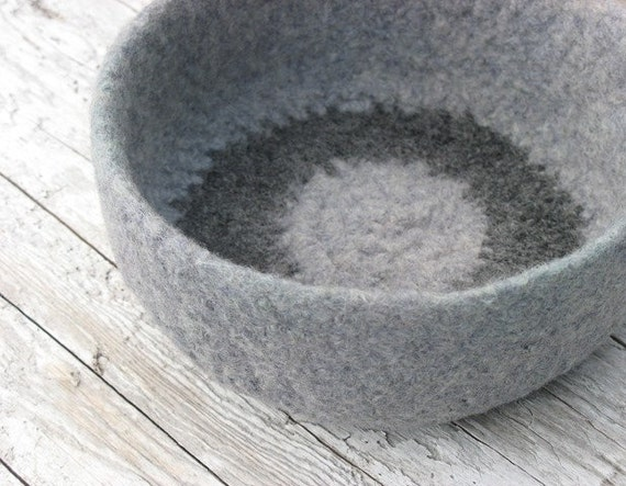 medium felted grey wool bowl with ring
