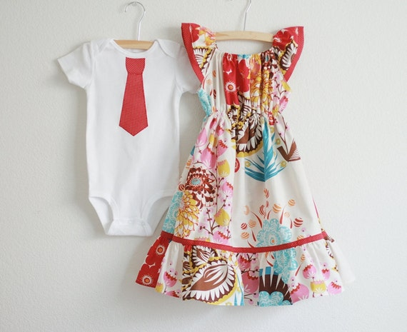 Brother / Sister SET ... LouLouThi Flutter sleeves Peasant Dress & Matching Neck Tie Applique Boys SHORT sleeves T-shirts or Onesie